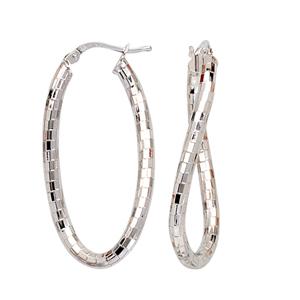Hoop Earrings, Brick Design Lrg Twisted Oval Hoop