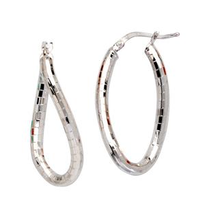 Hoop Earrings, Brick Design Sm Twisted Oval Hoop