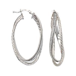 Hoop Earrings, Lightz Collection Plain/Text Oval Hoop E
