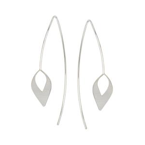 Threader Earring, Long Wire Open Leaf Element Earrings