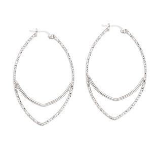 Hoop Earrings, D/C Tube Marquis Shape Hoops Earrings