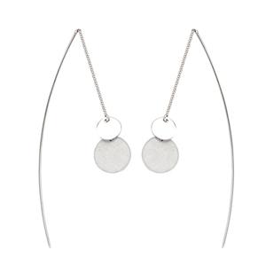 Threader Earring, Fancy Double Disc Threader Earrings