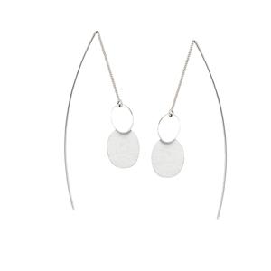 Threader Earring, Fancy Dbl Oval Disc Threader Earrings