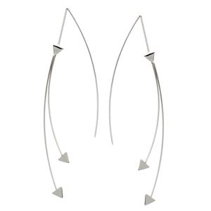 Threader Earring, Fancy Double Wire W/Triangle Threaders