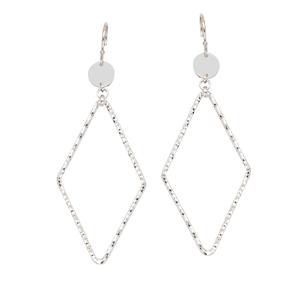 Hoop Earrings, Textured Dia Shape Dangle Earrings