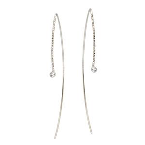 Threader Earring, Fancy Wire W/ Bezel Cz Earrings