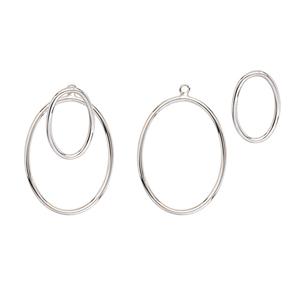 Silver Earring, Oval Jacket Earrings