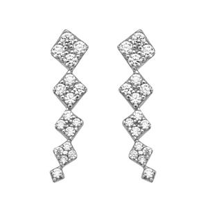 Silver Earrings, Graduated Square Shaped Climber Earrings