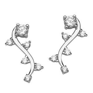 Silver Earrings, Fancy Cz Climber Earrings
