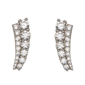 Silver Earrings, Fancy Graduated Cz Climber Earrings