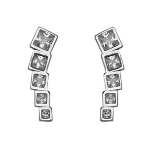 Silver Earrings, Grad Sq. Cz Climber Earrings