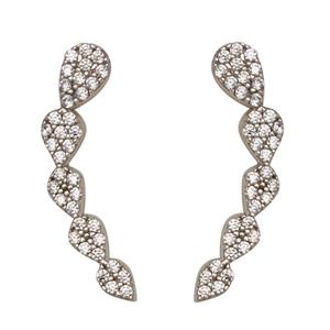 Silver Earrings, Cz Climber Earrings