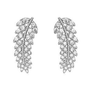 Silver Earrings, Fancy Cz Leave Earrings Crawlers