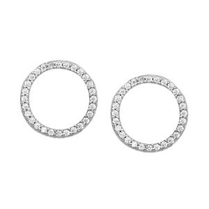 Silver Earring, Open Circle Cz Earrings