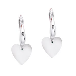 Silver Earring, Dangle Heart Earrings