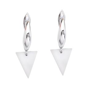 Silver Earring, Dangle Triangle Earrings