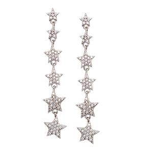 Hoop Earrings, Graduated 6 Cz Star Dangle Earrings