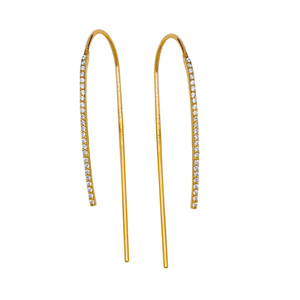 Threader Earring, Fancy Small Cz Hook Earrings