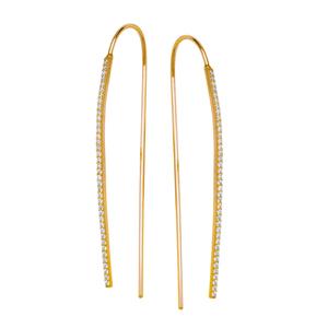 Threader Earring, Fancy Medium  Cz Hook Earrings