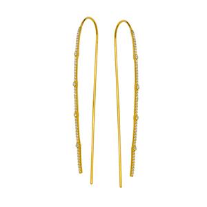 Threader Earring, Lrg Cz Hook Earrings