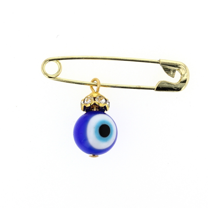 DiamondJewelryNY Evil Eye Glass Evil Eye Charm with Safety Pin to Hook