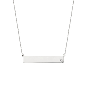 Cubic Zircon Name Plate Necklace, 18 Inches Long