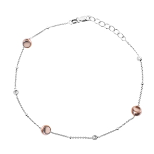Silver Anklet, Sterling Silver  Anklet W/Rg Plate Bead  & Cz