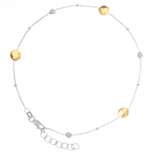 Silver Anklet, Sterling Silver  Anklet W/Yg Plate  Bead  & Cz