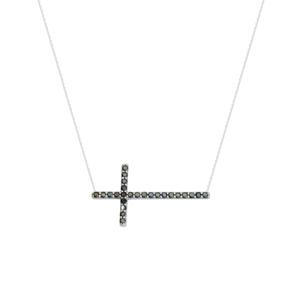 Black Cubic Zircon Cro Necklace- , 18 Inches Long