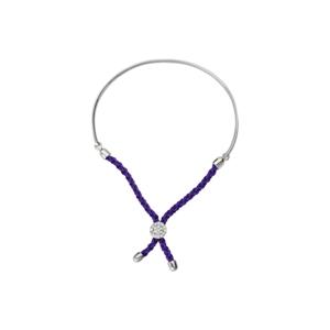 Silver Bracelet, 1/2 Bar Purple Braided Macrame Bracelet