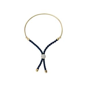 Silver Bracelet, 1/2 Bar Dark Blue Braided Macrame Brac