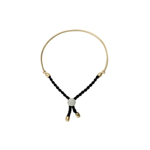 Silver Bracelet, 1/2 Bar Black Braided Macrame Bracelet