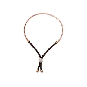 Silver Bracelet, 1/2 Bar Brown Braided Macrame Bracelet