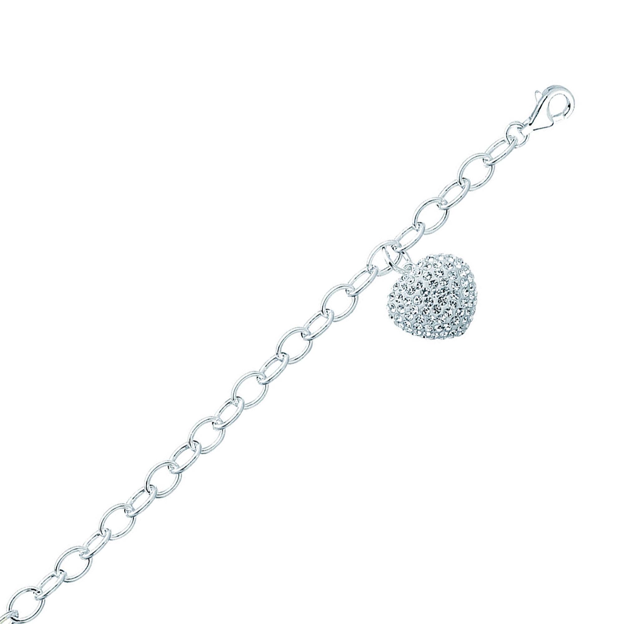 Silver Bracelet, Rolo W/Crystal Heart Bracelet