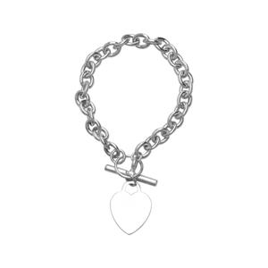 Silver Bracelet, SS Rhod Toggle Heart Rolo