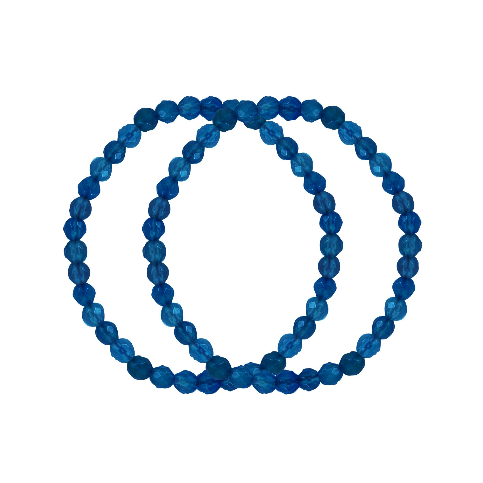 Silver Bracelet, Set Of 2 Dark Blu  Fac Qrtz Stretch Brac