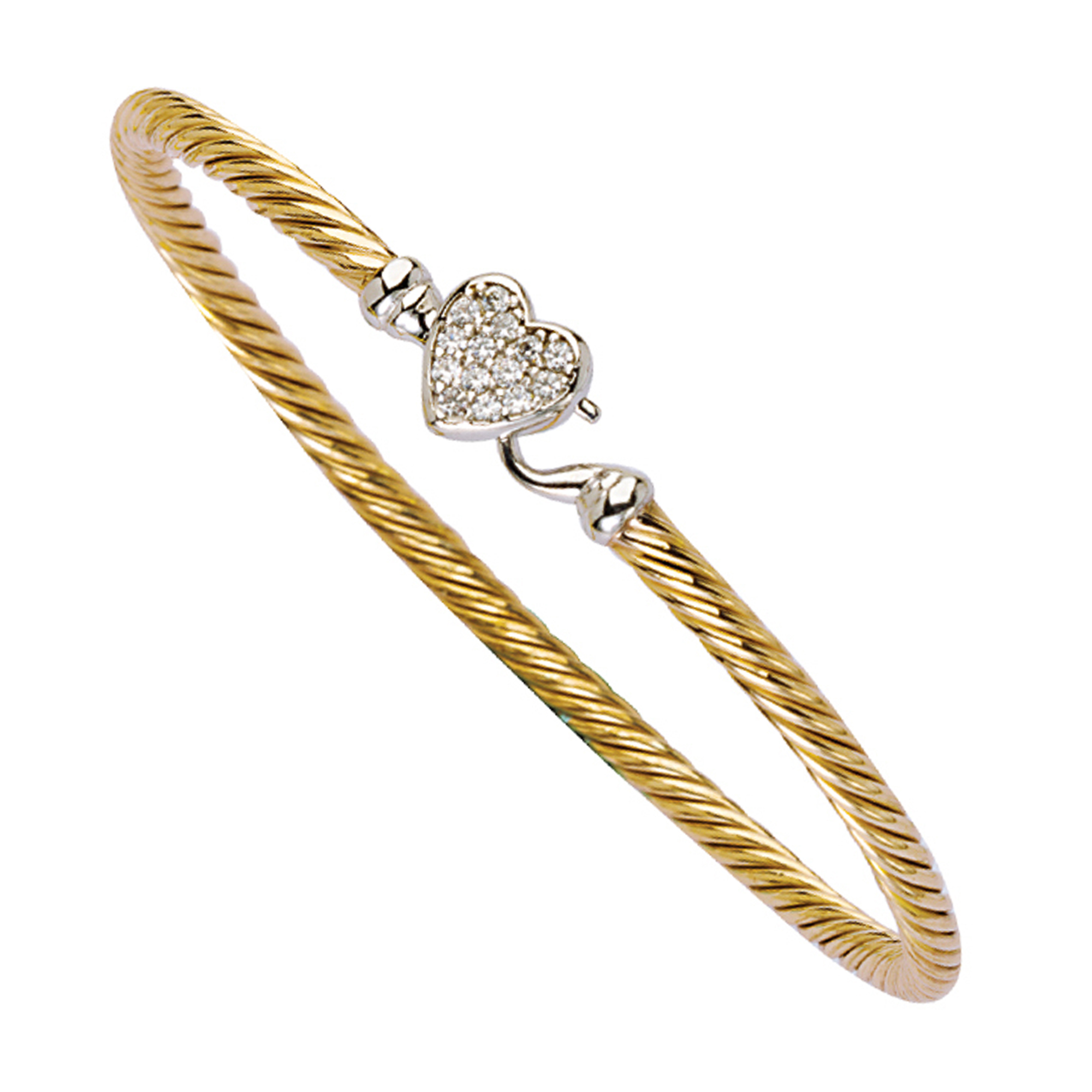 Bangle Bracelet, Cz Heart Twisted Bangle/Hook Lock