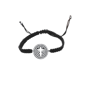 Silver Bracelet, SS Med Cz Disk W/Cut Out CroSS Elem Br