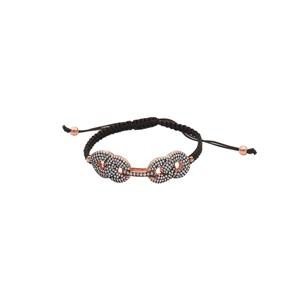 Silver Bracelet, SS Double Puffed Link Makrame Bracelet
