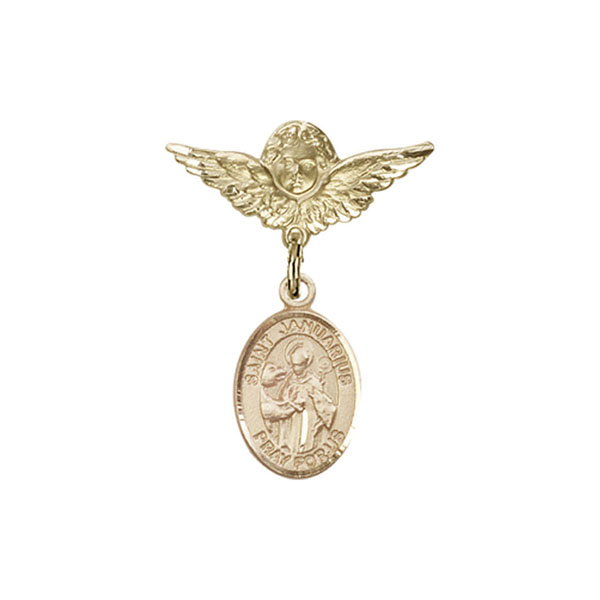 Baby Badge , 14kt Gold badge with St. Januarius Charm
