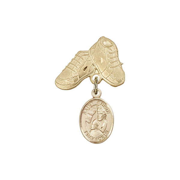 Baby Badge , 14kt Gold badge with St. Edwin Charm