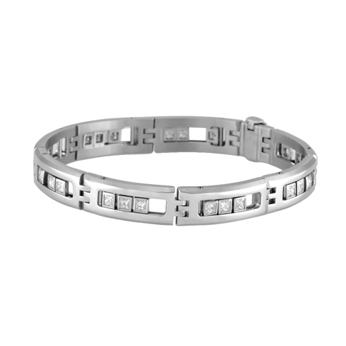 14K White Gold Men s Sliding princess cut diamond bracelet 3 25 Ctw