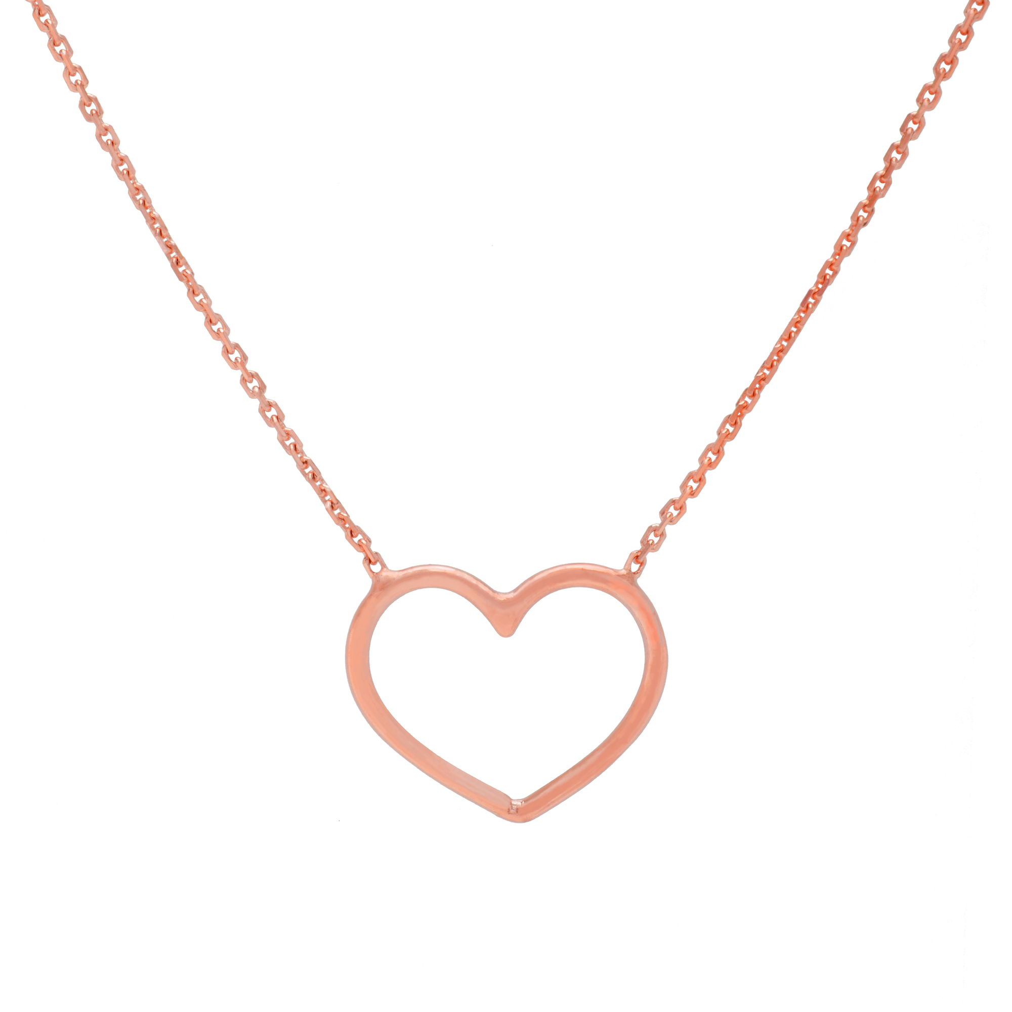 Heart Necklace, 14Kt Gold Heart Necklace 18