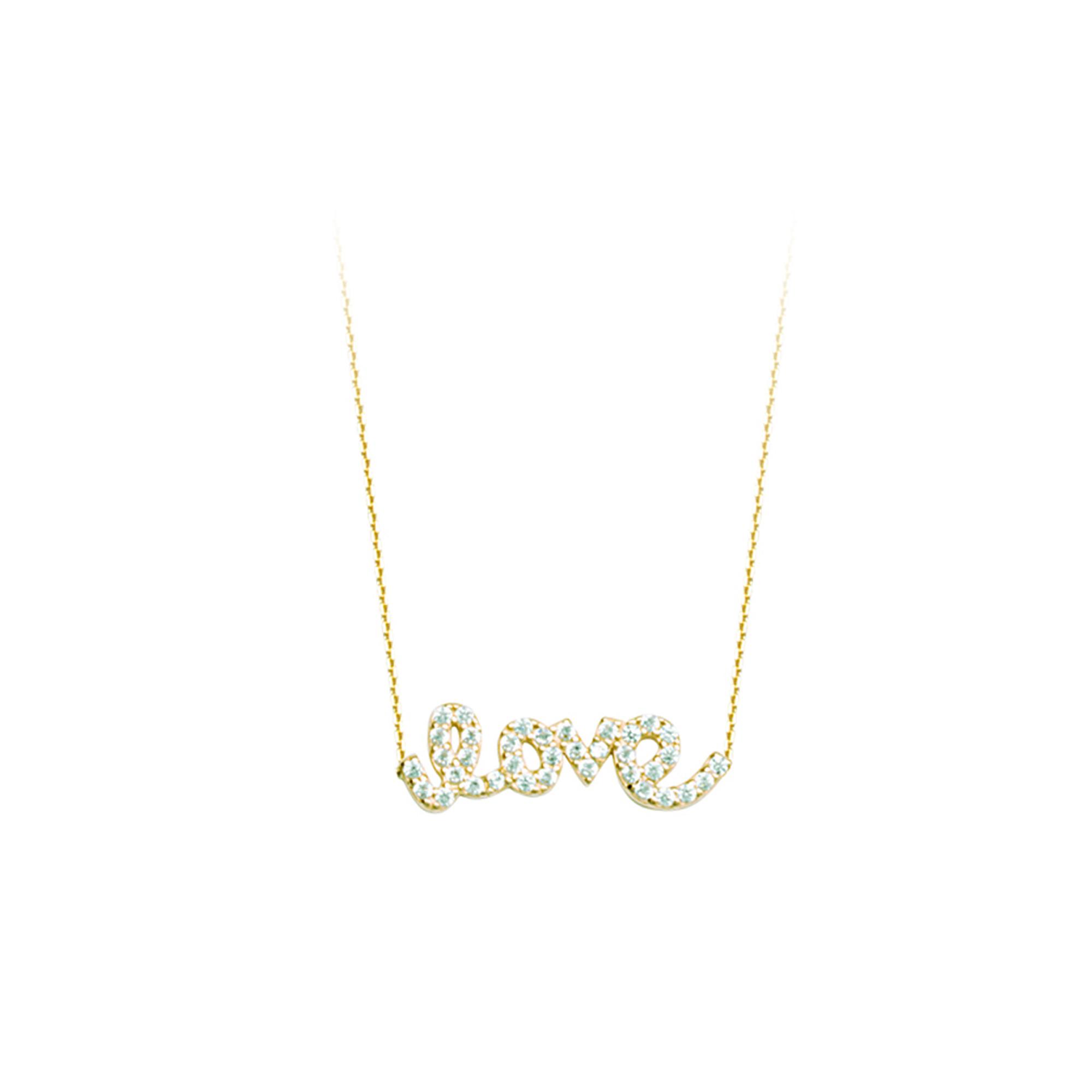 Love Necklace, 14Kt Gold  & Cz Love Necklace 18