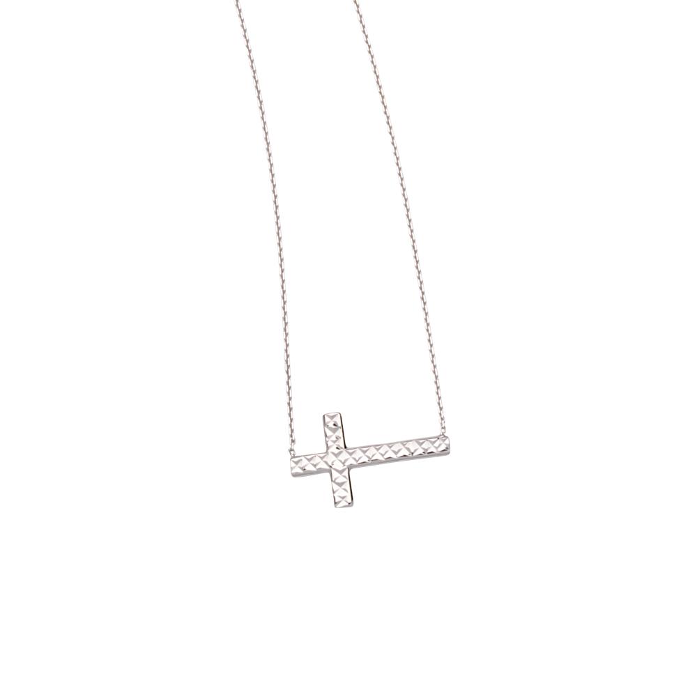 Sideways Cross Necklace, 14Kt Gold & Cz Cross Necklace 18