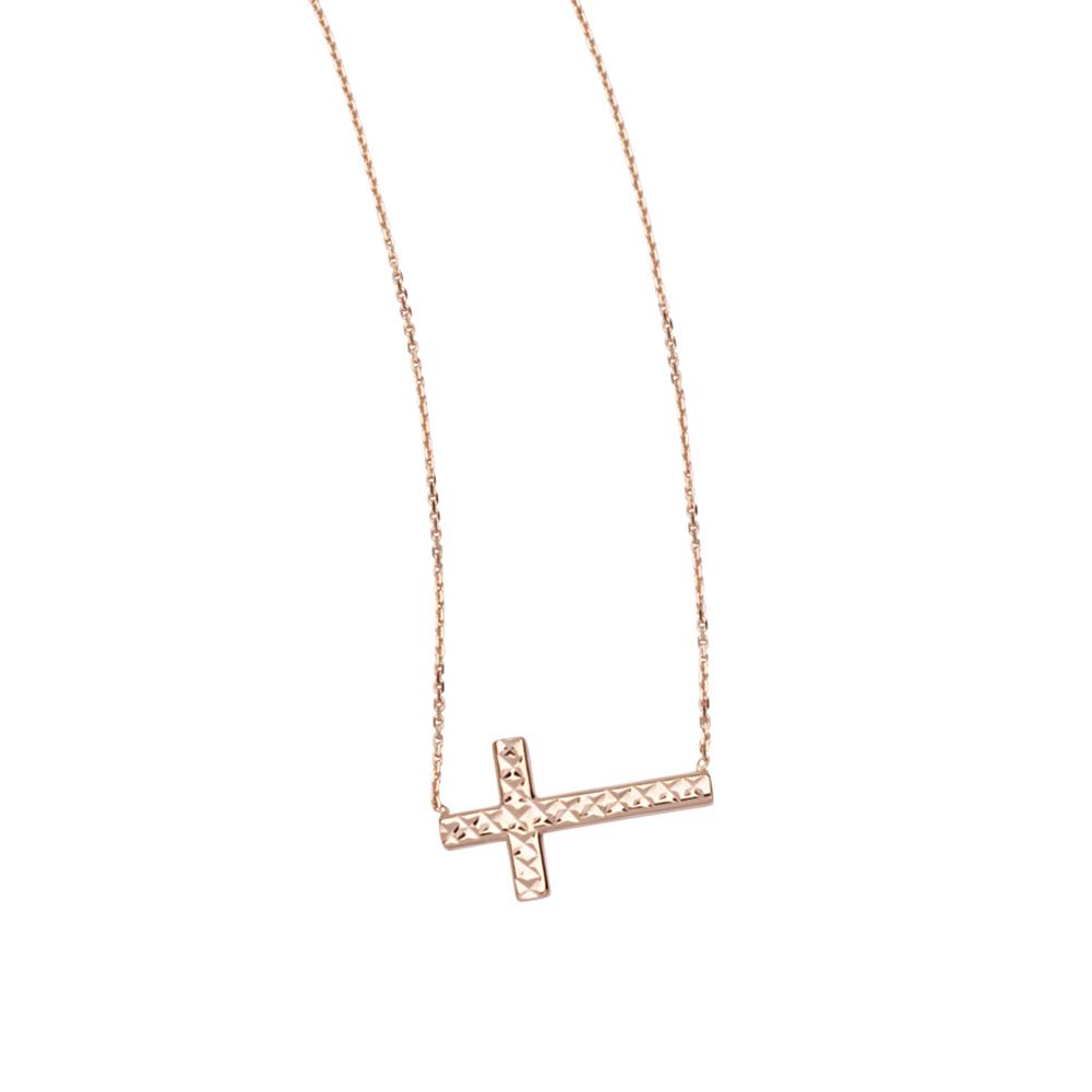 Sideways Cross Necklace, 14Kt Gold Cross Necklace 18
