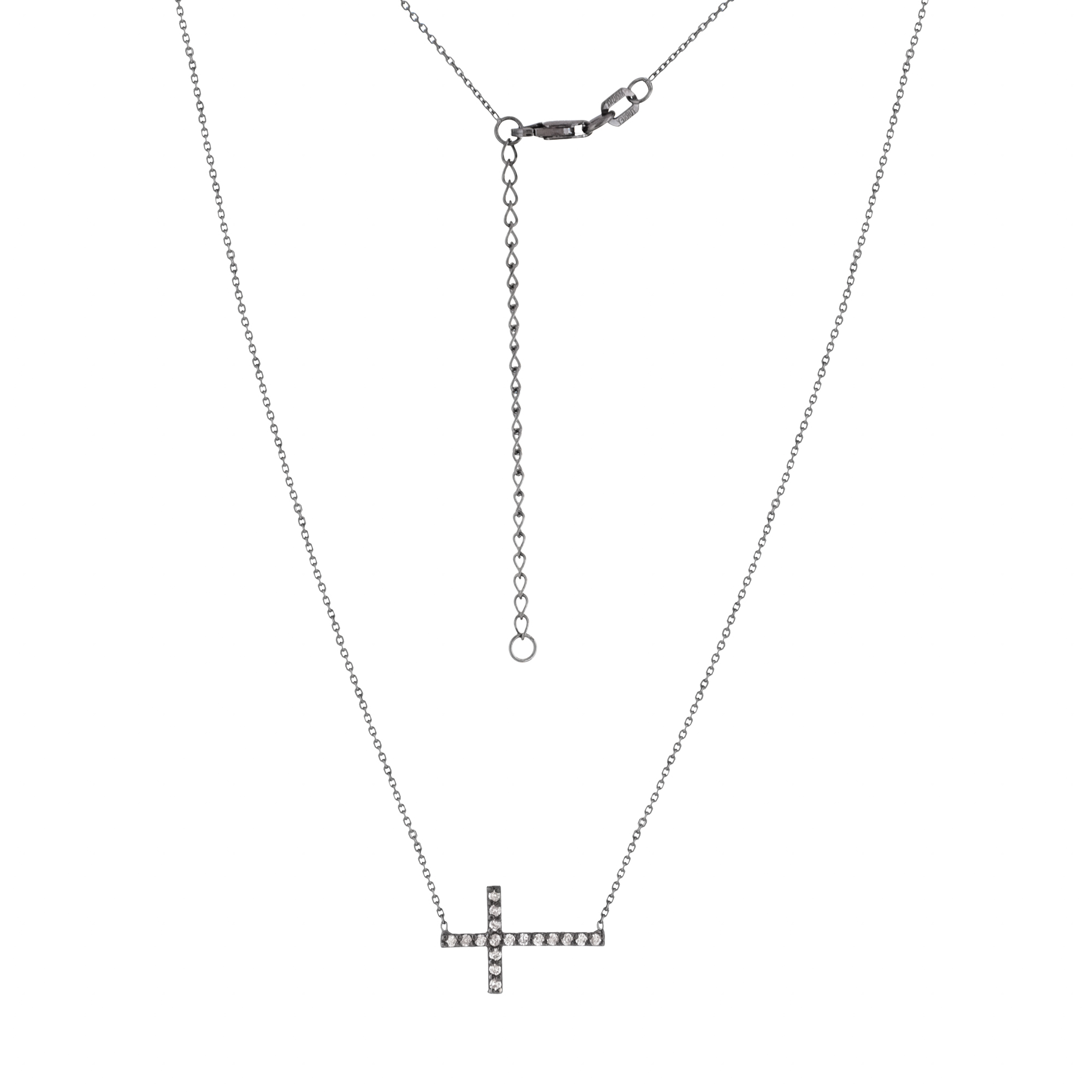 Cross Necklace, 14Kt Gold& Diamond Cross Necklace 18
