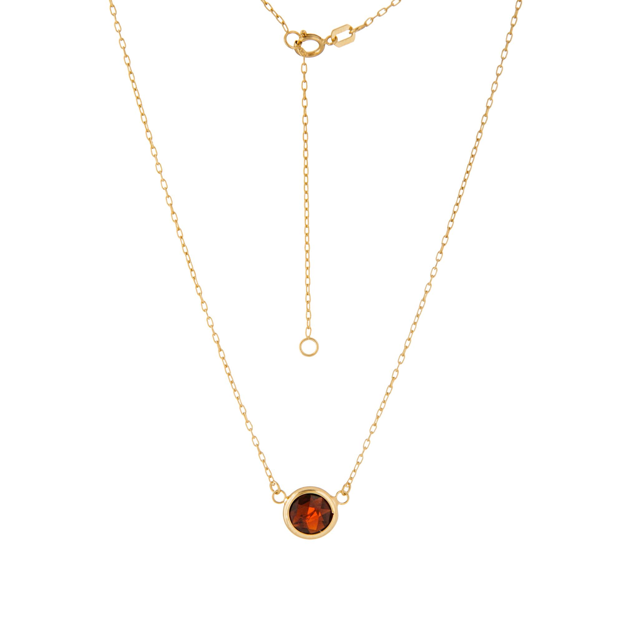 Garnet Pendant, 14Kt Gold Garnet  8Mm Pendant 18