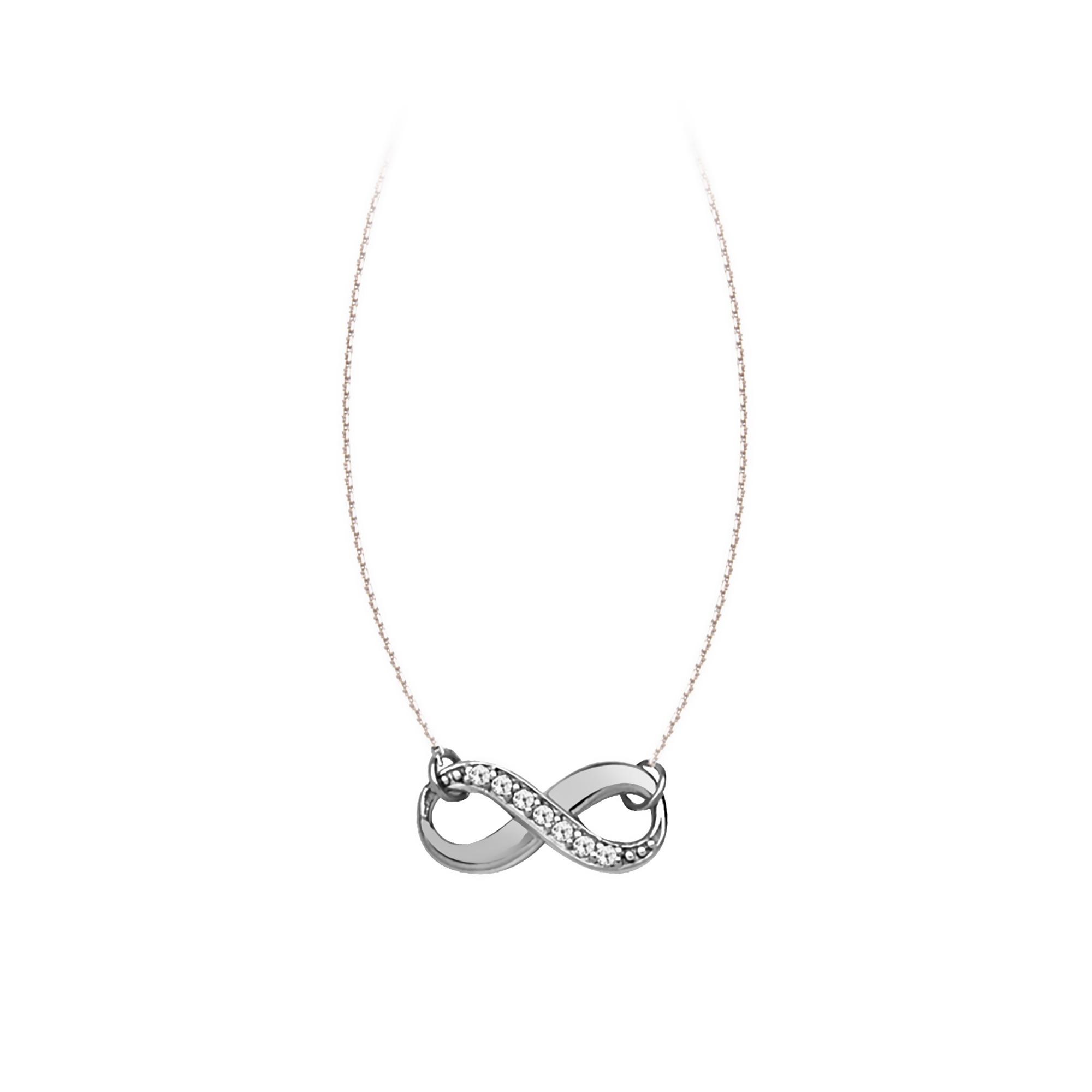 Infinity Necklace, 14Kt Gold & Diamond Infinity Necklace 18