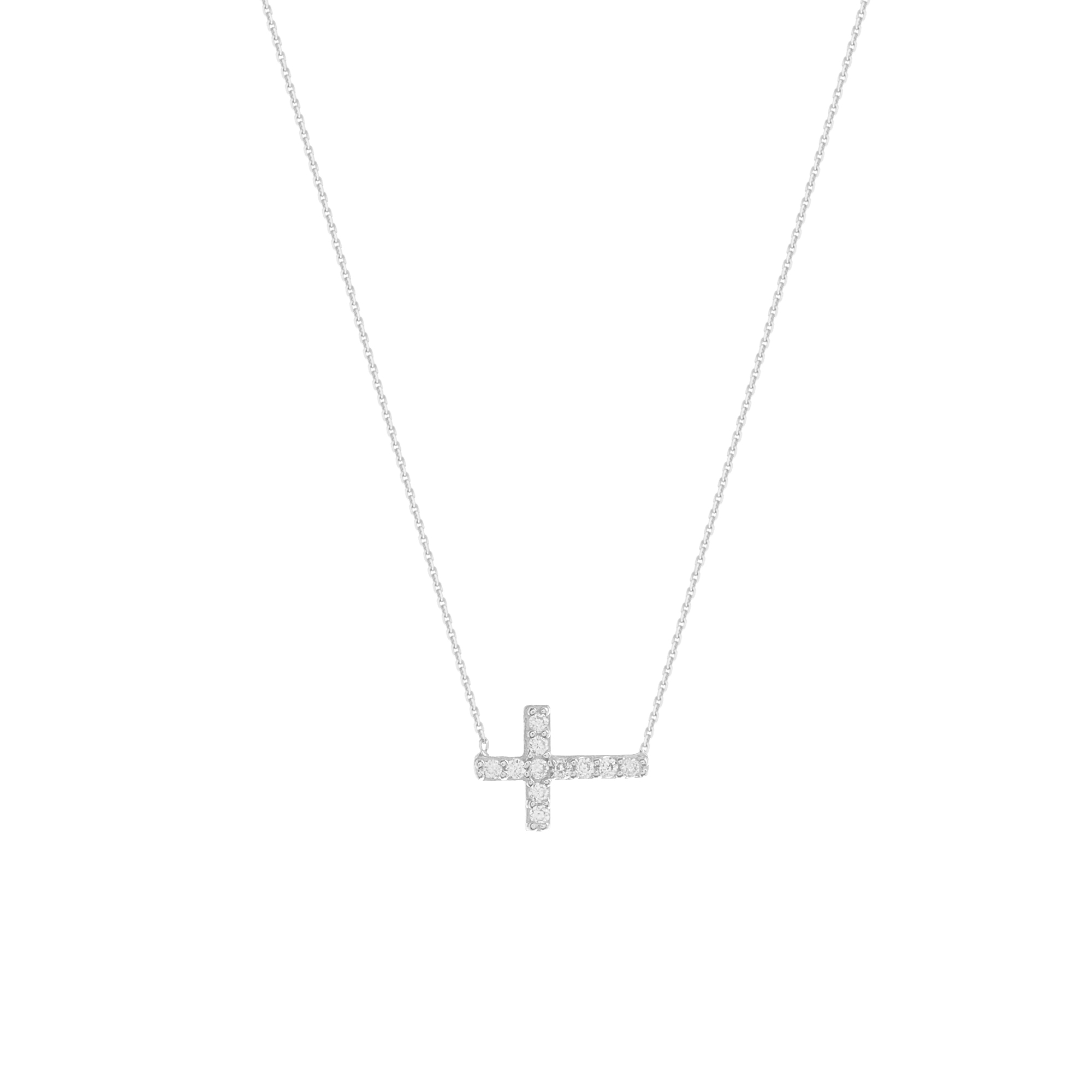 Cross Necklace, 14Kt Gold Cross Necklace 18
